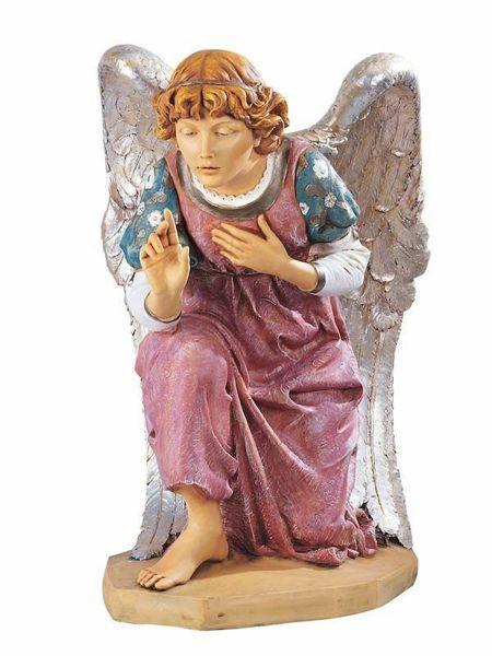 Imagen de Ángel arrodillado cm 125 (50 Inch) Belén Fontanini Estatua para al Aire Libre en Resina pintada a mano