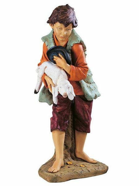 Picture of Young Shepherd with Lamb cm 125 (50 Inch) Fontanini Nativity Statue for Outdoor use, hand painted Resin