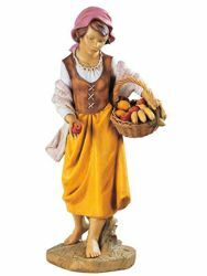 Picture of Shepherdess with Fruit cm 125 (50 Inch) Fontanini Nativity Statue for Outdoor use, hand painted Resin