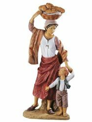 Picture of Shepherdess with Boy and Bread cm 125 (50 Inch) Fontanini Nativity Statue for Outdoor use, hand painted Resin