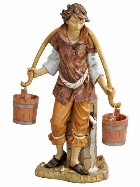 Picture of Shepherd with Buckets cm 125 (50 Inch) Fontanini Nativity Statue for Outdoor use, hand painted Resin
