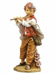 Picture of Young Shepherd with Flute cm 125 (50 Inch) Fontanini Nativity Statue for Outdoor use, hand painted Resin