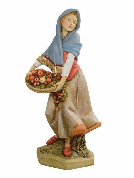 Immagine di Pastorella con Frutta cm 125 (50 Inch) Presepe Fontanini Statua per Esterno in Resina dipinta a mano