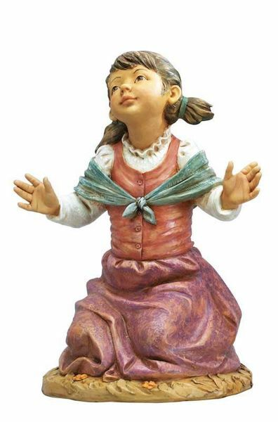 Immagine di Pastorella in ginocchio cm 125 (50 Inch) Presepe Fontanini Statua per Esterno in Resina dipinta a mano