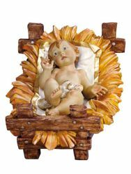 Picture of Baby Jesus and Cradle cm 180 (70 Inch) Fontanini Nativity Statue for Outdoor use, hand painted Resin