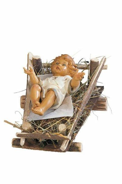Immagine di Gesù Bambino e Culla cm 52 (20 Inch) Presepe Fontanini Statua per Esterno in Resina dipinta a mano