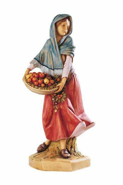 Imagen de Pastora con Fruta cm 52 (20 Inch) Belén Fontanini Estatua para al Aire Libre en Resina pintada a mano