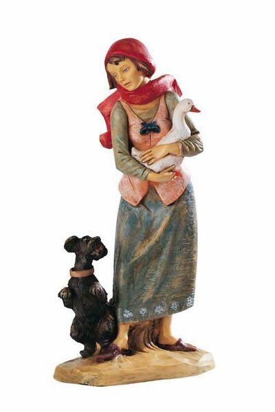 Imagen de Pastora con Ganso y Perro cm 52 (20 Inch) Belén Fontanini Estatua para al Aire Libre en Resina pintada a mano
