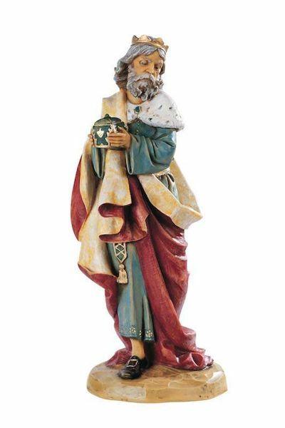 Immagine di Melchiorre Re Magio Bianco a piedi cm 52 (20 Inch) Presepe Fontanini Statua per Esterno in Resina
