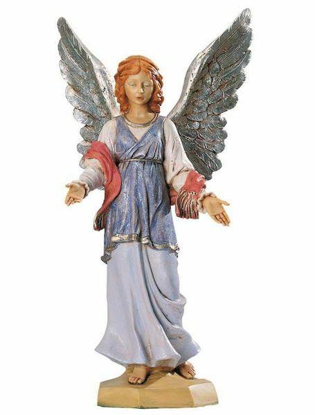 Imagen de Ángel de pie cm 65 (27 Inch) Belén Fontanini Estatua para al Aire Libre en Resina pintada a mano