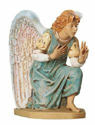 Picture of Kneeling Angel cm 65 (27 Inch) Fontanini Nativity Statue for Outdoor use, hand painted Resin