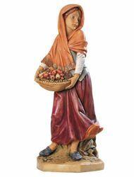 Imagen de Pastora con Fruta cm 65 (27 Inch) Belén Fontanini Estatua para al Aire Libre en Resina pintada a mano