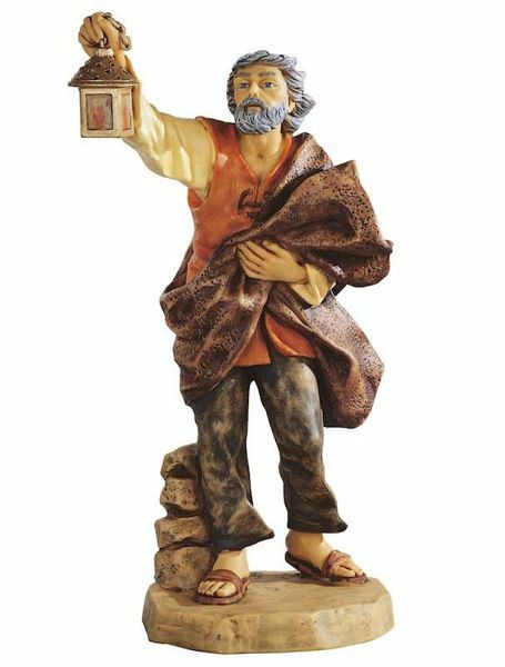 Imagen de Pastor con Linterna cm 65 (27 Inch) Belén Fontanini Estatua para al Aire Libre en Resina pintada a mano