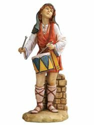 Picture of Shepherd with Drum cm 65 (27 Inch) Fontanini Nativity Statue for Outdoor use, hand painted Resin