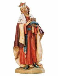 Immagine di Melchiorre Re Magio Bianco a piedi cm 65 (27 Inch) Presepe Fontanini Statua per Esterno in Resina