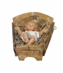 Picture of Baby Jesus and Cradle cm 85 (34 Inch) Fontanini Nativity Statue for Outdoor use, hand painted Resin