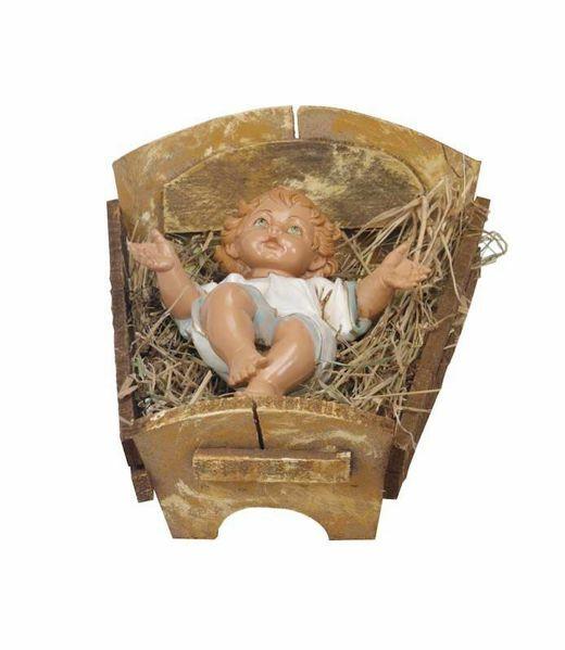 Imagen de Niño Jesús y Cuna cm 85 (34 Inch) Belén Fontanini Estatua para al Aire Libre en Resina pintada a mano