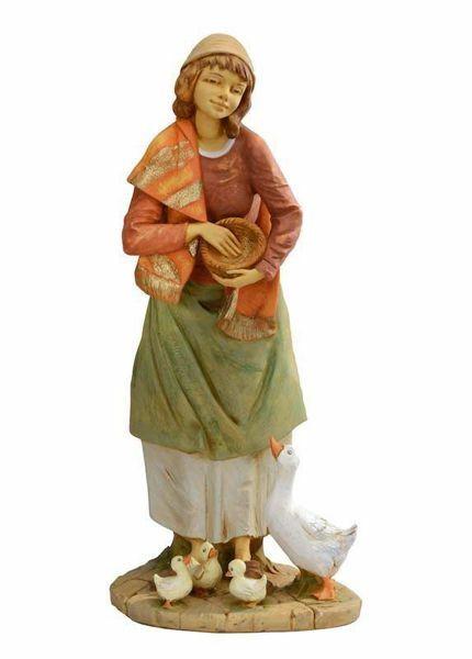 Imagen de Pastora con Gansos cm 85 (34 Inch) Belén Fontanini Estatua para al Aire Libre en Resina pintada a mano