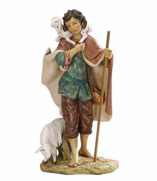 Imagen de Pastor con Ovejas cm 85 (34 Inch) Belén Fontanini Estatua para al Aire Libre en Resina pintada a mano