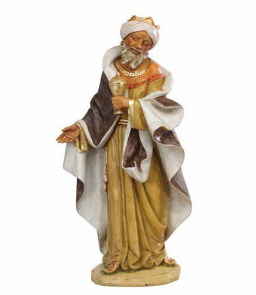 Immagine di Gaspare Re Magio Mulatto a piedi cm 85 (34 Inch) Presepe Fontanini Statua per Esterno in Resina