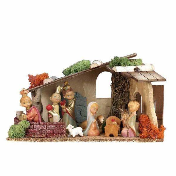 Imagen de Set Natividad Sagrada Familia BABY con Cabaña 9 piezas cm 10 (4 Inch) Pueblo Belén Fontanini Figuritas en Plástico