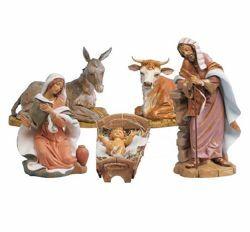 Immagine di Set Natività Sacra Famiglia 5 pezzi cm 45 (18 Inch) Presepe Fontanini Statue in Plastica dipinte a mano
