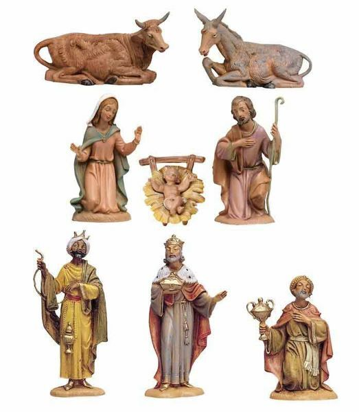 Picture of Nativity Set Holy Family 8 Pieces cm 10 (4 Inch) Fontanini Nativity Figurines hand painted Plastic