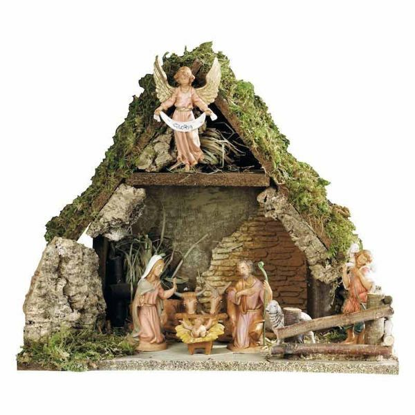 Picture of Nativity Set Holy Family with Stable 8 Pieces cm 10 (4 Inch) Fontanini Nativity Village Figurines