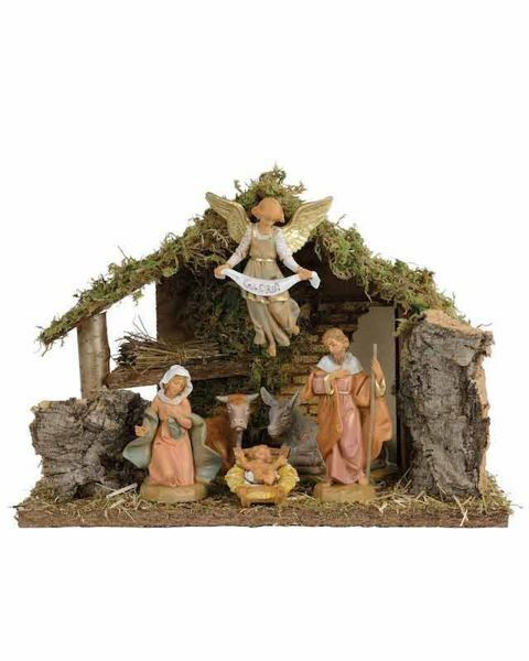 Picture of Nativity Set Holy Family with Stable 6 Pieces cm 12 (5 Inch) Fontanini Nativity Village Figurines