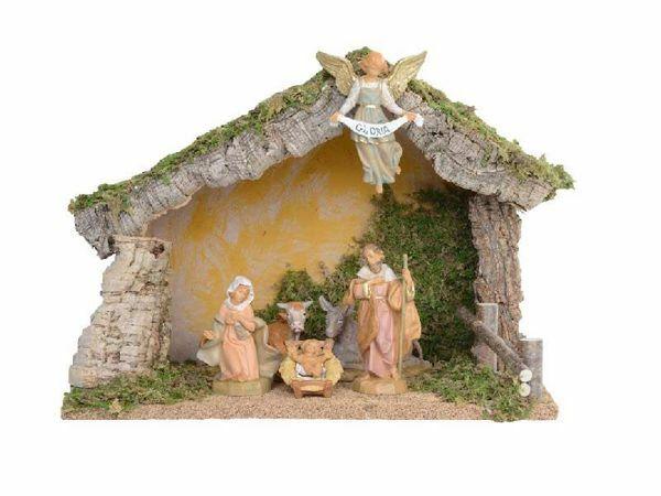 Imagen de Set Natividad Sagrada Familia con Cabaña 6 piezas cm 12 (5 Inch) Pueblo Belén Fontanini Figuritas en Plástico