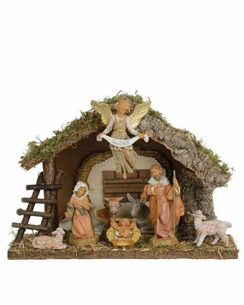 Immagine di Set Natività Sacra Famiglia con Capanna 8 Pezzi cm 12 (5 Inch) Villaggio Presepe Fontanini