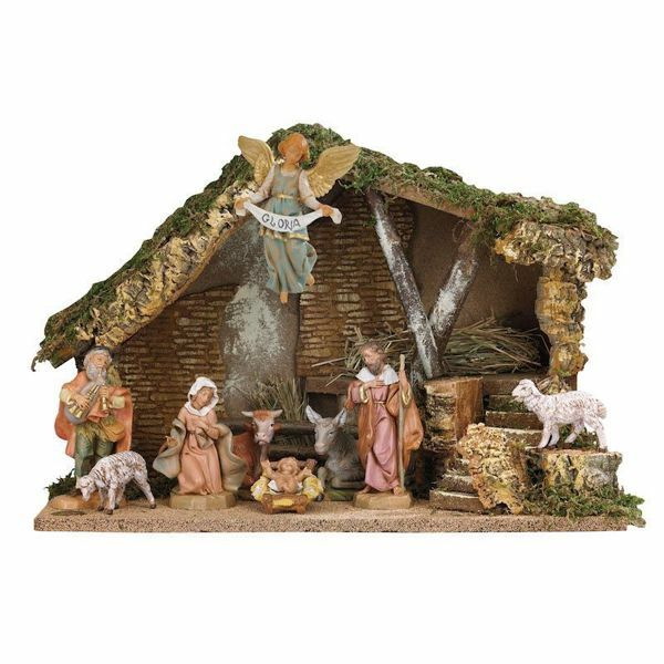 Picture of Nativity Set Holy Family with Stable 9 Pieces cm 12 (5 Inch) Fontanini Nativity Village Figurines
