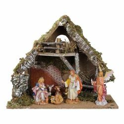 Picture of Nativity Set Holy Family with Stable 6 Pieces cm 15 (6 Inch) Fontanini Nativity Village Figurines