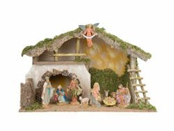 Picture of Nativity Set Holy Family with Stable 10 Pieces cm 17 (7 Inch) Fontanini Nativity Village Figurines