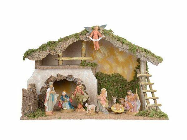 Immagine di Set Natività Sacra Famiglia con Capanna 10 Pezzi cm 17 (7 Inch) Villaggio Presepe Fontanini