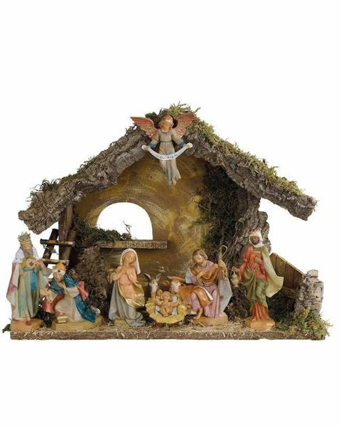 Picture of Nativity Set Holy Family with Stable 9 Pieces cm 17 (7 Inch) Fontanini Nativity Village Figurines