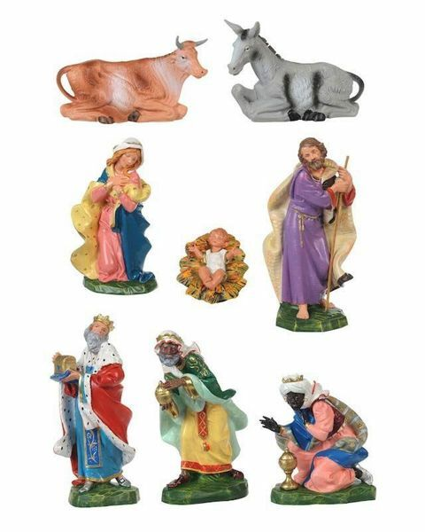 Picture of CLASSIC Nativity Set Holy Family 8 Pieces cm 19 (7,5 Inch) Fontanini Nativity Figurines Traditional Colors Plastic