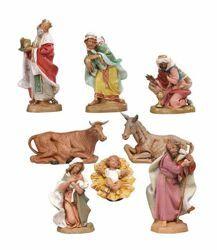 Immagine di Set Natività Sacra Famiglia 8 pezzi cm 19 (7,5 Inch) Presepe Fontanini Statuine in Plastica dipinte a mano