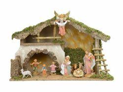 Immagine di Set Natività Sacra Famiglia con Capanna 10 Pezzi cm 19 (7,5 Inch) Villaggio Presepe Fontanini