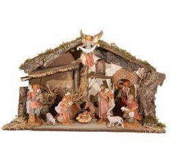 Immagine di Set Natività Sacra Famiglia con Capanna 11 Pezzi cm 19 (7,5 Inch) Villaggio Presepe Fontanini
