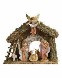 Immagine di Set Natività Sacra Famiglia con Capanna 6 Pezzi cm 19 (7,5 Inch) Villaggio Presepe Fontanini