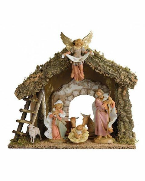 Picture of Nativity Set Holy Family with Stable 6 Pieces cm 19 (7,5 Inch) Fontanini Nativity Village Figurines
