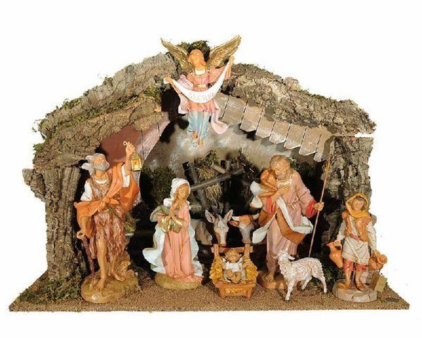 Imagen de Set Natividad Sagrada Familia con Cabaña 9 piezas cm 30 (12 Inch) Pueblo Belén Fontanini Estatuas en Plástico