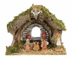 Picture of Nativity Set Holy Family with Stable 7 Pieces cm 6,5 (2,5 Inch) Fontanini Nativity Village Figurines