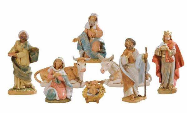 Immagine di Set Natività Sacra Famiglia 8 pezzi cm 9,5 (3,6 Inch) Presepe Fontanini Statuine in Plastica dipinte a mano