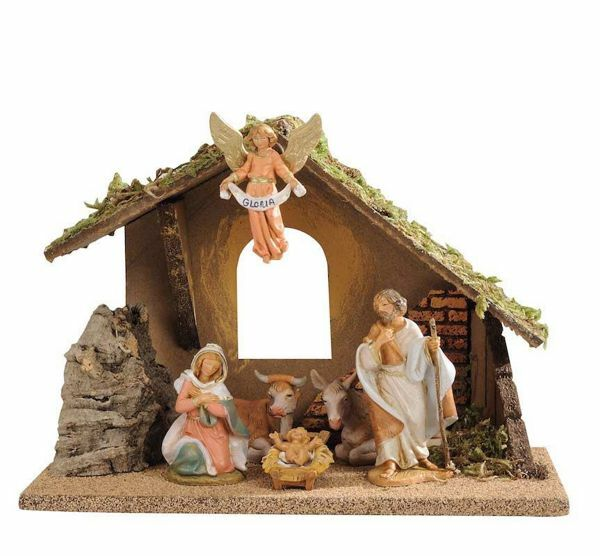 Picture of Nativity Set Holy Family with Stable 6 Pieces cm 9,5 (3,6 Inch) Fontanini Nativity Village Figurines