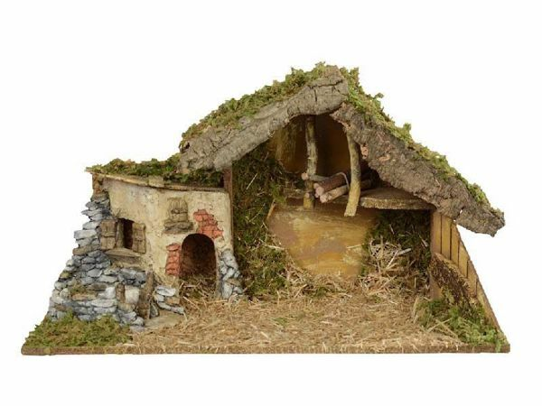 Picture of Stable cm 12 (5 Inch) Fontanini Nativity Village in Wood, Cork, Moss - handmade
