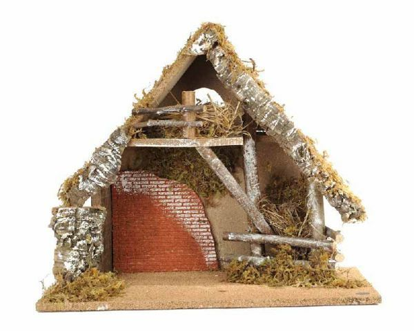 Picture of Stable cm 15 (6 Inch) Fontanini Nativity Village in Wood, Cork, Moss - handmade