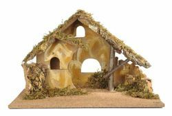 Picture of Stable cm 17 (7 Inch) Fontanini Nativity Village in Wood, Cork, Moss - handmade