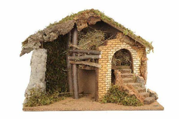 Immagine di Capanna cm 17 (7 Inch) Villaggio Presepe Fontanini in Legno, Sughero, Muschio fatta a mano